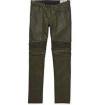 Belstaff Eastham Slim Fit Coated Stretch Denim Biker Jeans Green