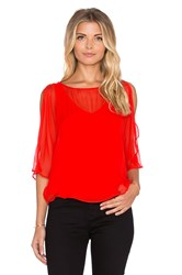 Heather Silk Split Sleeve Top Red