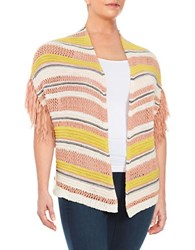 Jessica Simpson Plus Striped Knit Cardigan White