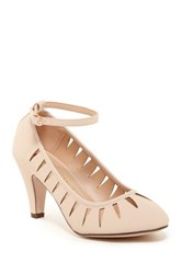 Chase And Chloe Kimmy Ankle Strap Pump Beige