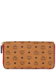 Mcm Logo Faux Leather Zip Around Wallet