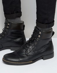Bellfield Hyder Leather Laceup Boots Black