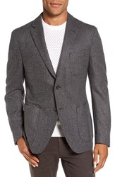 Flynt Men's Big And Tall New Fit Herringbone Wool And Cashmere Sport Coat Grey