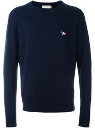 Maison Kitsune Embroidered Logo Jumper Blue
