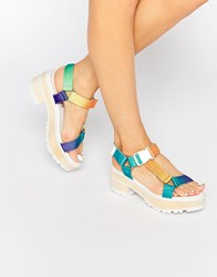 Eeight Valentina Multi Colour Chunky Heeled Sandals White Multi
