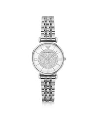 Emporio Armani Gianni T Bar Silvertone Stainless Steel Women's Watch W Crystals Dial