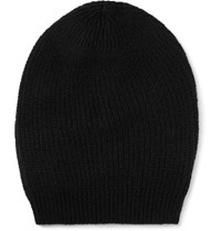 Rick Owens Ribbed Knit Cashmere Blend Beanie Black