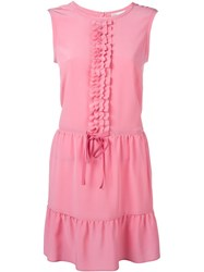 Red Valentino Ruffle Front And Hem Tie Waist Dress Pink And Purple