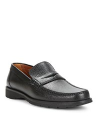 A. Testoni Pebbled Leather Loafers Black
