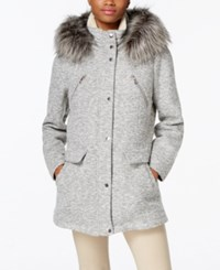 Nautica Faux Fur Trim Snap Front Coat Grey Brushed