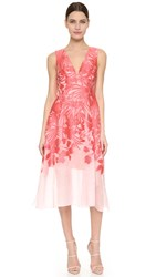 Lela Rose V Neck Dress Red Pink