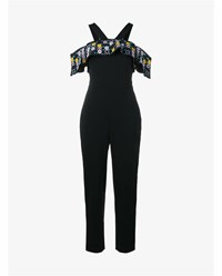 Peter Pilotto Floral Embroidered Cold Shoulder Jumpsuit Black Multi Coloured Pink Yellow Blue Purple