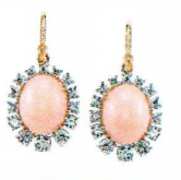 Irene Neuwirth 18K Rose And White Gold Earrings Set With Pink Opal 15X12mm And Full Cut Diamonds 3.22Cts On Pave Hooks 0.03Cts