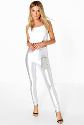 Boohoo High Waist Super Stretch Satin Disco Trousers Ivory