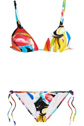 Norma Kamali Carmen Printed Triangle Bikini Red Yellow