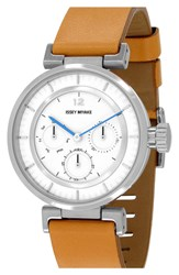 Issey Miyake Chronograph Leather Strap Watch 39Mm Tan White Silver
