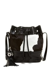 Isabella Fiore Dakota Genuine Calf Hair Bucket Bag Black