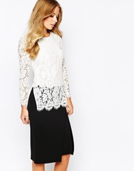 Whistles Tunic Top In Lace Ivory