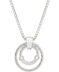 Macy's Diamond Double Circle Pendant Necklace 1 5 Ct. T.W. In Sterling Silver