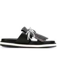 Studio Pollini Fringed Flat Sandals Black