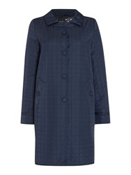 Max Mara Libico Quilted Button Up Coat Navy