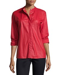 Escada Long Sleeve Snap Front Leather Shirt Cherry Red