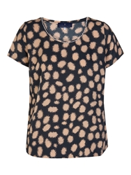 Xandres Xline Blouse Short Sleeve With Dots Blue