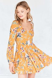 Ecote Rosalinda Floral Long Sleeve Mini Dress Yellow