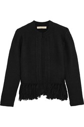 Vanessa Bruno Fidis Fringed Wool And Cashmere Blend Cardigan Black