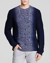 Vince Marled Cable Knit Ombre Sweater Crown Blue Combo