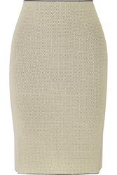 Calvin Klein Collection Perforated Stretch Knit Skirt Cream
