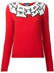 Boutique Moschino Ruffle Effect Sweater Red