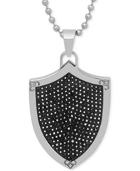 Macy's Men's Black Diamond Shield Pendant Necklace 1 2 Ct.T.W. In Stainless Steel And Black Rhodium Ip Over Stainless Steel