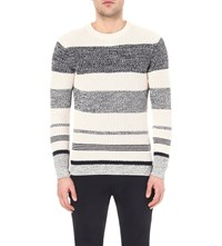 Reiss Carmen Striped Knitted Jumper Ecru