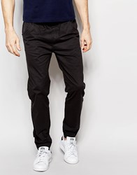 Solid Cuffed Chinos In Straight Fit Blue