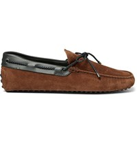 Tod's Gommino Leather Trimmed Suede Driving Shoes Tan