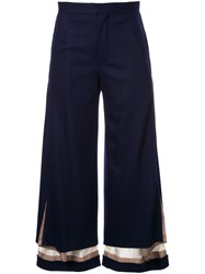 Undercover Layered Flared Trousers Blue