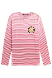 Balmain Striped Knit Pullover With Embossed Buttons Multicolor