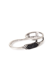 Forever 21 Faux Stone Two Finger Ring Black B.Silver