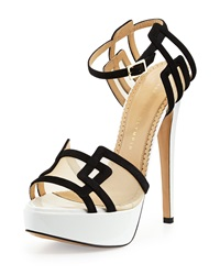 Geometric Leather Platform Sandal Black White Charlotte Olympia