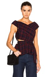 Tanya Taylor Phoebe Top In Red Checkered And Plaid Red Checkered And Plaid