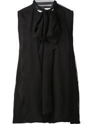 Carolina Herrera Sleeveless Sheer Back Blouse Black