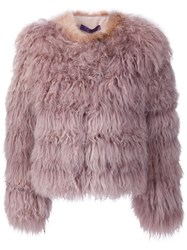 Ralph Lauren Black Label Shaggy Shearling Jacket Pink And Purple