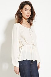 Forever 21 Contemporary Peasant Top Vanilla