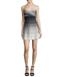 Herve Leger Strapless Degrade Bandage Dress Dove Combo