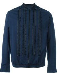Lanvin Zipped Up Striped Over Shirt Blue