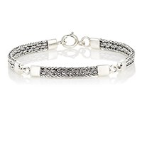 Caputo And Co. Co Men's Sterling Silver Braided Chain Bracelet Silver