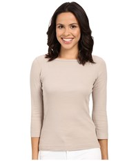 Three Dots 3 4 Sleeve British Tee Taupe Sand Women's Long Sleeve Pullover