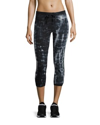 The Balance Collection Varsity Cropped Tie Dye Drawstring Leggings Black