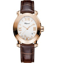 Chopard Happy Sport Oval 18Ct Rose Gold Diamond And Alligator Leather Watch